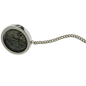 Bordered Old Style World Map Pendant Tie Tack